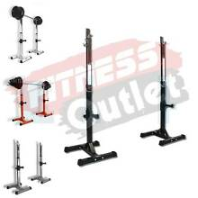 NEW 250KGS SQUAT STANDS ADJUSTABLE RACKS WEIGHTS