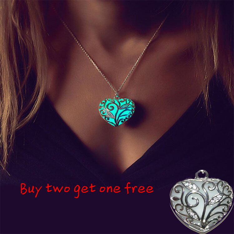 $1.99 - Glow in The Dark Women's Heart of The Ocean Pendant Necklace Chains Gift Jewelry