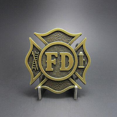 Fire Department Bronze Plated FD Firefighter Metal Belt Buckle