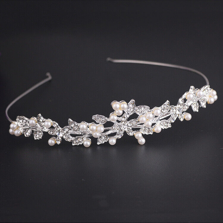 Accessori per capelli da sposa fiore di cristallo Tiara capelli perla fascia