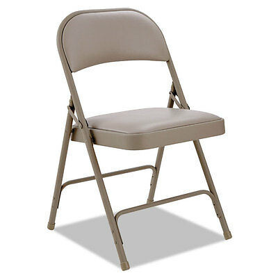 Alera Steel Folding Chair With Two-brace Support Padded Backseat Tan 4