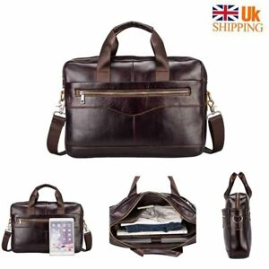 Oak Leathers Leather Laptop Messenger Bag for Men - Premium Office Briefcase 15