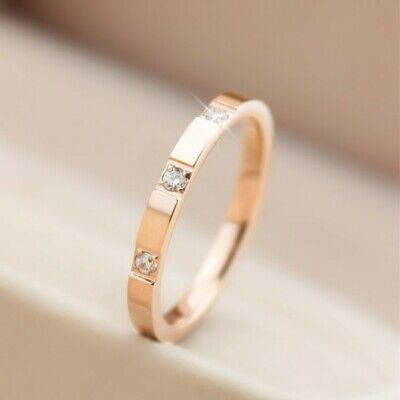 2mm Thin Stackable Ring Stainless Steel 3 Stone CZ Wedding Band for Women Girl 3 Stone Wedding Band