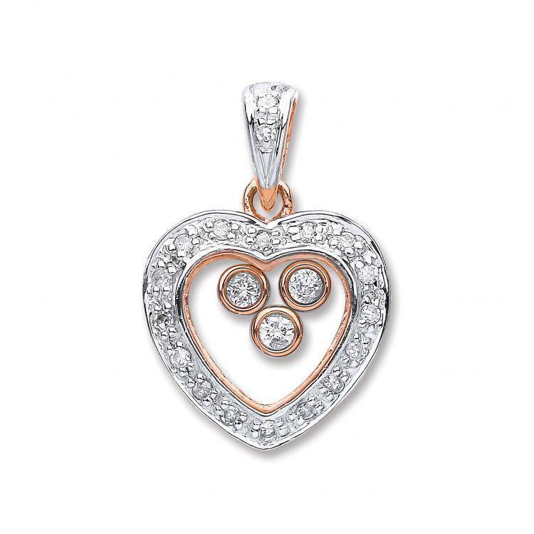 9ct Rose Gold 0.18ct Trilogy Floating Diamond Heart Pendant