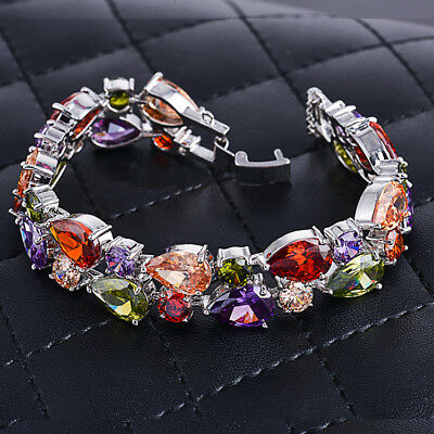 - Silver Chain Mona Lisa Multi Color Morganite Topaz Gemstone Charm Women Bracelet