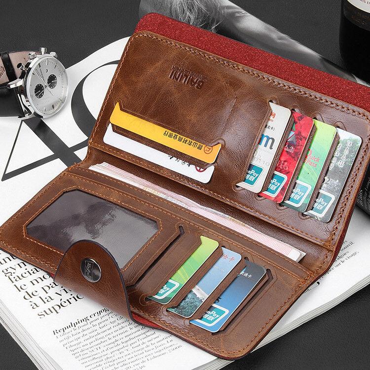 Men's Leather Wallet Bifold ID Card Holder Checkbook Long Clutch Billfold Purse 1
