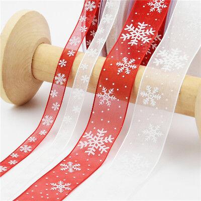 10meters/lot Red Christmas Ribbon Snowflake Organza DIY Gift Wrapping Decoration