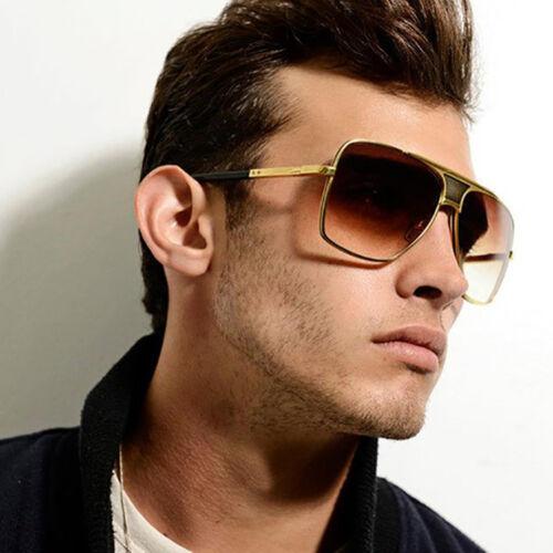 Retro Men's Large Square Aviator Metal Bar Fashion Sunglasse