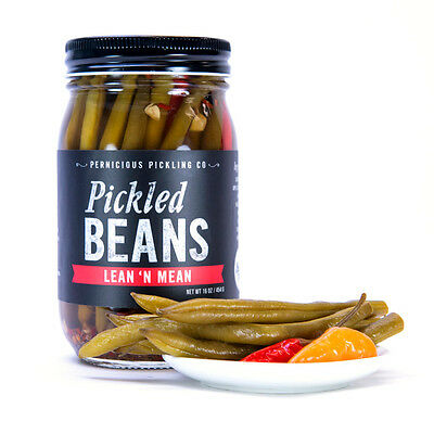 Pernicious Pickling Co Lean N Mean - Spicy Pickled Green String Beans, 16oz Jar