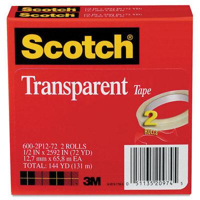Scotch Transparent Tape 600 2p12 72 12 X 2592 3 Core Transparent 2pack
