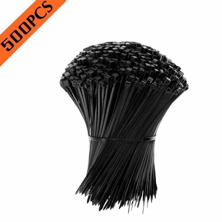 "500pcs 4"" 2.5X100MM 18LBS USA INDUSTRIAL BLACK WIRE CABLE ZIP UV NYLON TIE WRAPS"