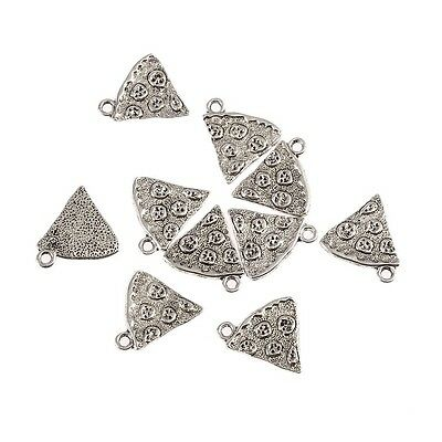 10pcs Pizza Slice Food Beads Tibetan Silver Charms Pendant DIY Bracelet 20*18mm (Food Bracelet Charms Silver)