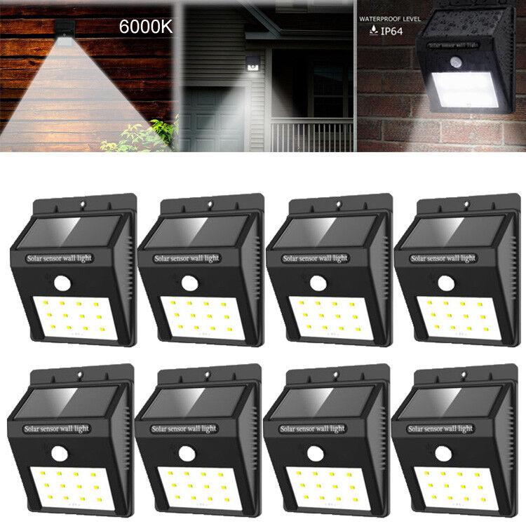 2-8 Pack Solar Power Sensor Wall Light Security Motion Weath