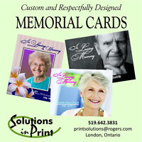Memorial Cards, Programs and Bookmarks