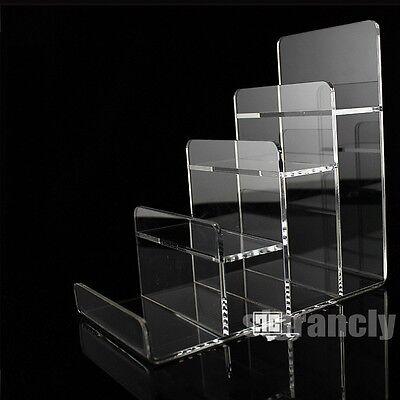 Clear 4 Layers Step Acrylic Retail Shop Handbag Purse Wallet Display Stand