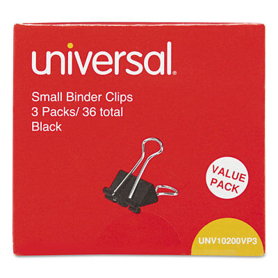 Universal Small Binder Clips 38 Capacity 34 Wide Black 36pack 10200vp3