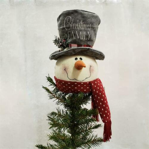 New Primitive Christmas Rusty Bell LARGE SNOWMAN HEAD FACE TREE TOPPER Doll