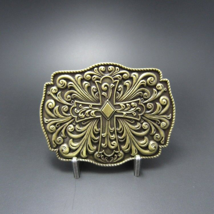Celtic Cross Flowers Western Bronze Plated Belt Buckle