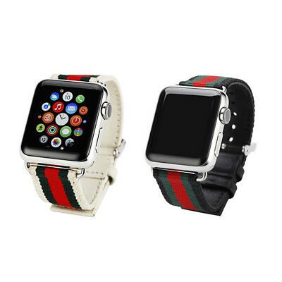 For Apple Watch Band Gucci Stripe Sport Replacement Silicone Leather Nylon Strap