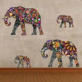 Large Elephant Collage Living Bedroom Wall Vinyl Decal Sticker Waterproof Art