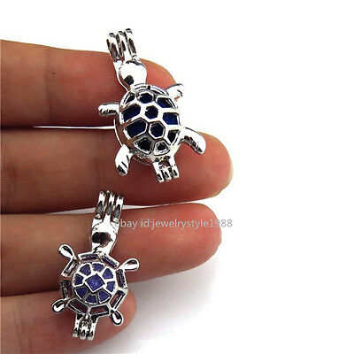 21676 2pcs/set  Silver Sea Turtoise Pearl Bead Cage Turtle Locket - Bulk Sale