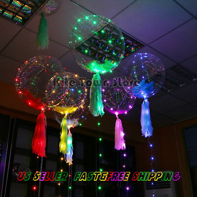 18inch LED color glow BOBO Balloon New Year Party with feather paper tassels