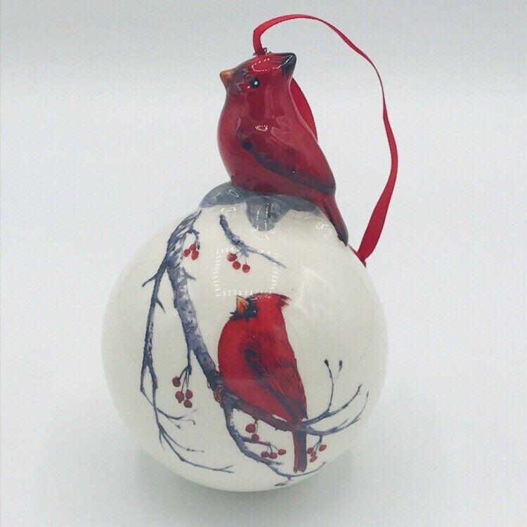 Ceramic Cardinal Ball Ornament