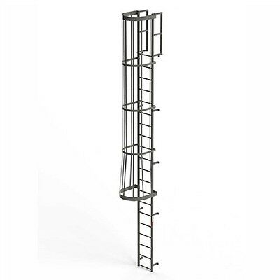 Steel Fixed Ladder - NEW! EGA Steel Fixed Cage Ladder, 20 Step Gray!!