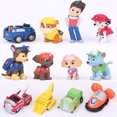 Paw Patrol Dog Puppy Rescue Character Toys Figure Figurine Cake Topper x 12pcs
