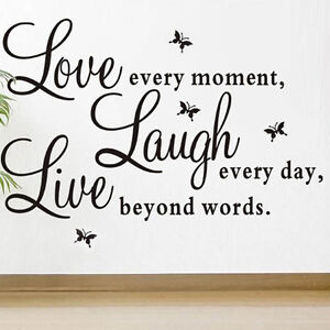 Fashion Style Love Every Moment Laugh Live Wall Sticker Decals Mural Home Decor