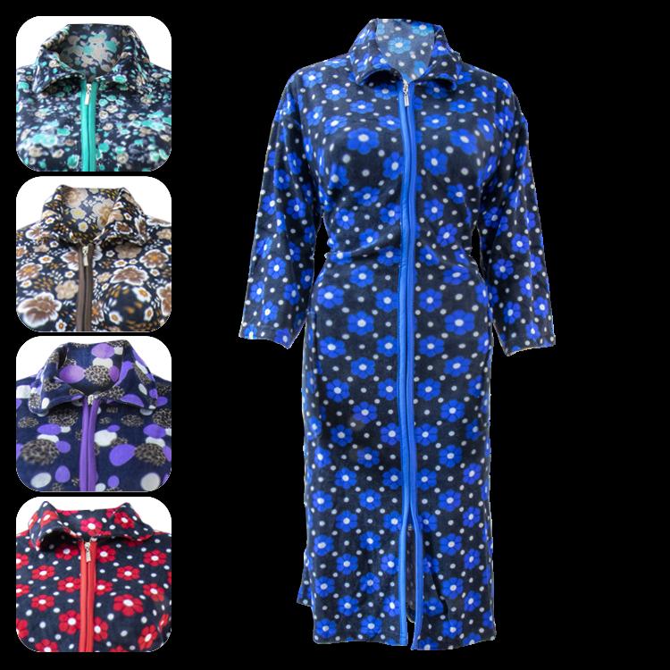 Damen Hausmantel Hauskleid Bademantel Morgenmantel mit Reißverschluss Халат