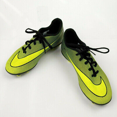 Nike Soccer Cleats Youth Size 4.5 Neon Green and Black Girls Boys Swoosh