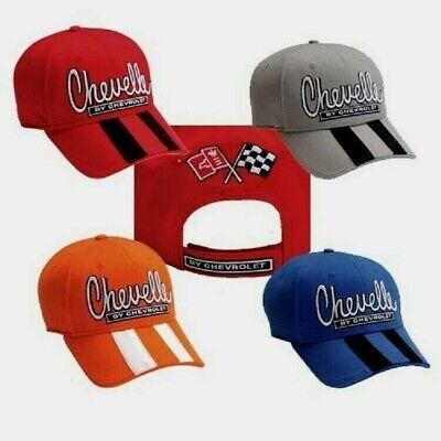 MEN'S CHEVELLE HAT/CAP BLUE,RED,GRAY,ORANGE 3D CHEVELLE RALLY STRIPES FS NEW