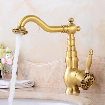 Bathroom Basin Sink Faucet Hot Cold Mixer Single Hole Brass Bath Tap Antique F62