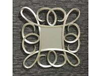 SQUARE WALL MIRROR WITH SILVER SWIRL FRAME 91 X 91 CM