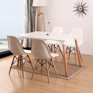 New Modern Dining Table Set(Table with 4 Chairs) White