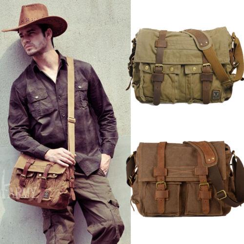 Men's Vintage Canvas Leather Satchel School Military Shoulde