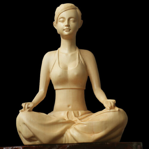 10.5CM Carved Boxwood Carving Figurine Beautiful Sitting Yoga Girl Decoration