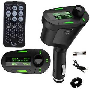Universal 12V USB Car Cigarette Lighter FM AUX Audio MP3 LCD Player Transmitter