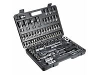 "94PC Carbon Steel 1/2""&1/4"" Socket Set Screwdriver Ratchet Driver Tool Kit +Case"