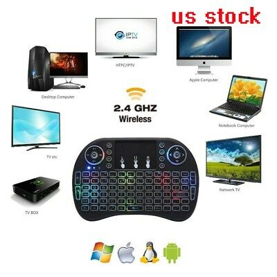 Mini i8 2.4GHZ Wireless remote Keyboard with touchpad LED background for android