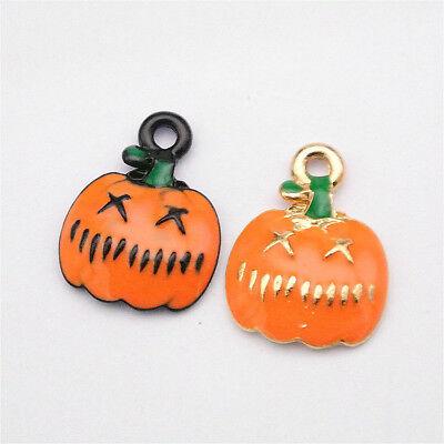 10pcs Charms Halloween Pumpkins Enamel Pendant Zinc Alloy Diy Bracelet 12*16mm](Diy Halloween Pumpkins)