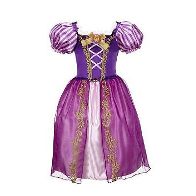 Girls Rapunzel Fancy Dress Costume Kids Princess Outfit UK Ages 2/3/4/5/6/7/8