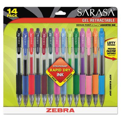 Zebra Sarasa Retractable Gel Pen Assorted Ink Medium 14pack 46824