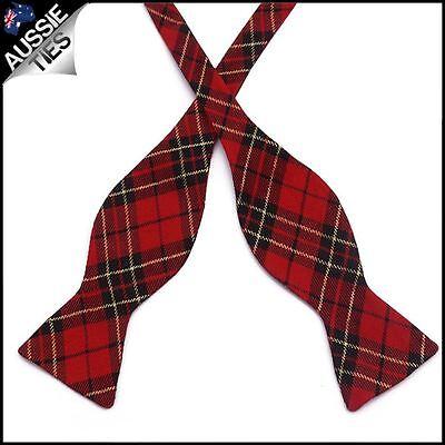 Red, Black & Gold Tartan Self Tie Bow Tie Black Tie Bow Tie