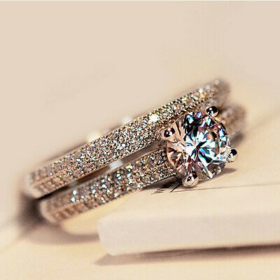 925 Silver,Rose Gold Round Cut CZ Wedding Band Engagement Rings Set Women SZ 4-9