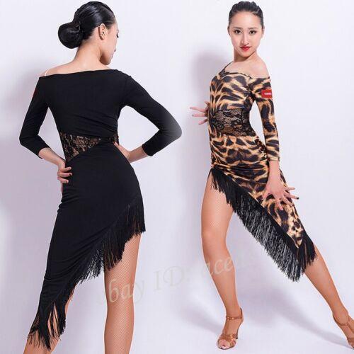 Womens Sexy Leopard Print Tassels Latin Dance Dress Rumba Samba Cha Cha Ballroom