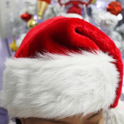Plush Santa Hat (US Deluxe Christmas Plush Pom Soft Santa Claus Hat Fur Covered Adult Hat)