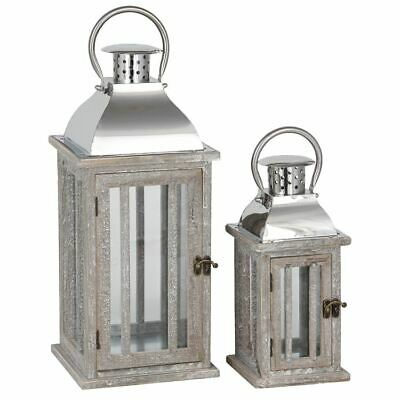 Classic Design S/2 Natural Wood And Metal Lanterns Perfect For Indoor & outdoor