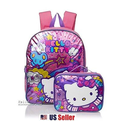 """Sanrio Hello Kitty """"Stars and Clouds"""" Backpack with Insulated Lunch Bag"""